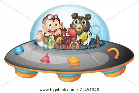Illustration of the playful animals inside the saucer on a white background