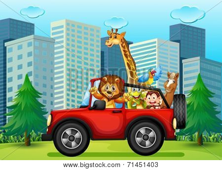 Illustration of a jeepney with animals