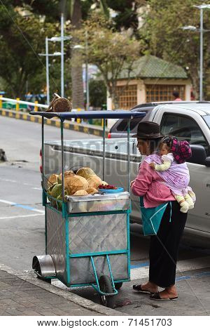 Coconut Cart in Ambato, Ecuador