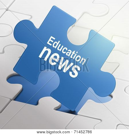 Education News On Blue Puzzle Pieces