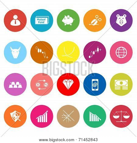 Stock Market Flat Icons On White Background
