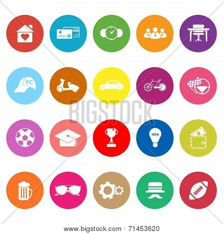 Normal Gentleman Flat Icons On White Background