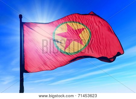 Kurdistan Workers Party Flag Waving On The Wind