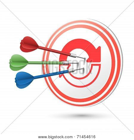 Refresh Icon Target With Darts Hitting On It