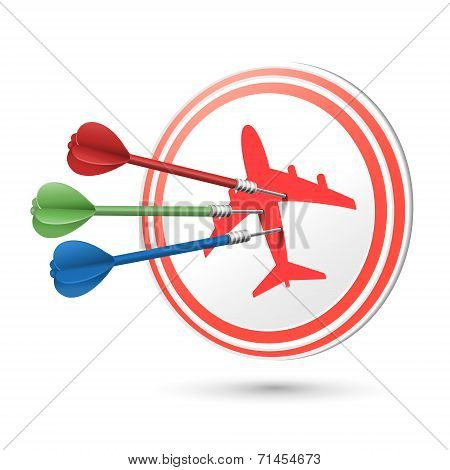 Travel Concept Target With Darts Hitting On It