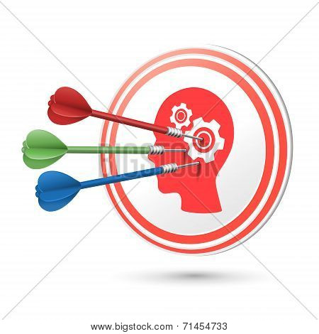 Thinking Concept Target With Darts Hitting On It