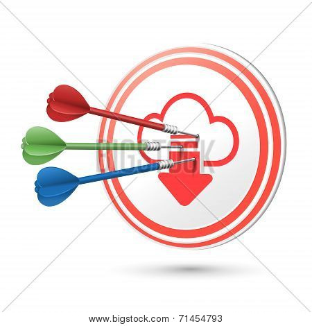 Cloud Computing Icon Target With Darts Hitting On It