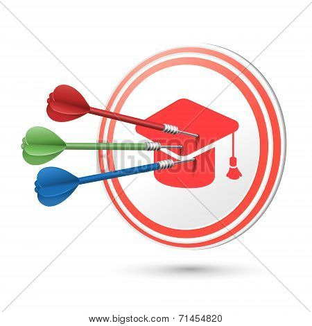 Graduation Cap Icon Target With Darts Hitting On It