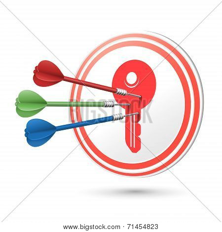 Key Icon Target With Darts Hitting On It