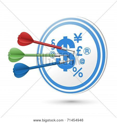 Financial Concept Target With Darts Hitting On It