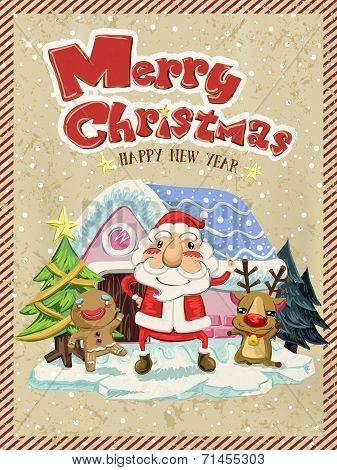 Merry Christmas Graphic With Santa, Moose And Ginger Man