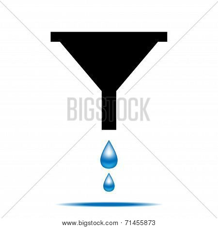 Funnel icon with drops of water