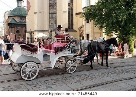 Promenade Coach With Two Harnessed Horses In Lvov