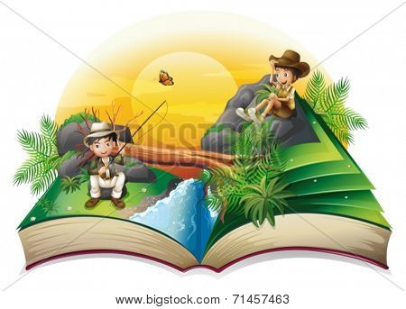 Illustration of a book about two explorers on a white background