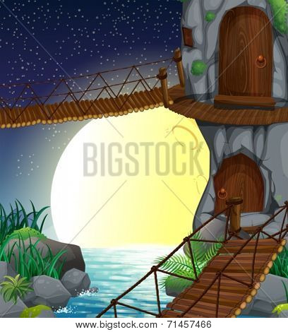 Illustration of a beautiful scenery at the forest
