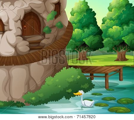 Illustration of a beautiful scenery with a duck