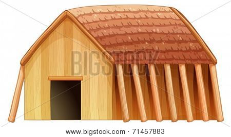 Illustration of a viking's shelter on a white background