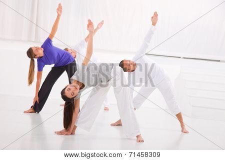 Diverse Group Of People Practicing Yoga In Fitness Studio