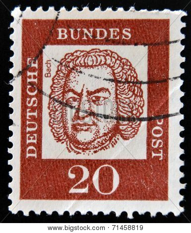 GERMANY - CIRCA 1963: a stamp printed in Germany shows Johann Sebastian Bach