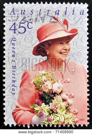 AUSTRALIA - CIRCA 2001: A stamp printed in Australia shows Queen Elizabeth II circa 2001