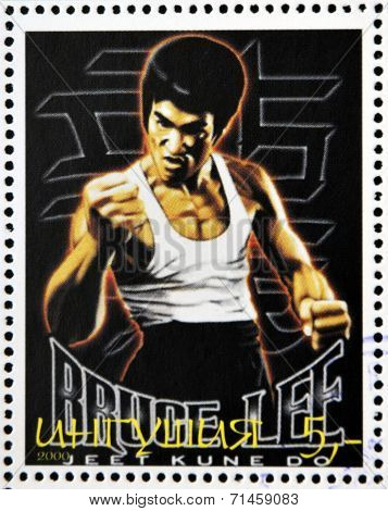 REPUBLIC OF SAKHA (YAKUTIA) - CIRCA 2000: A stamp printed in Yakutia shows Bruce Lee circa 2000