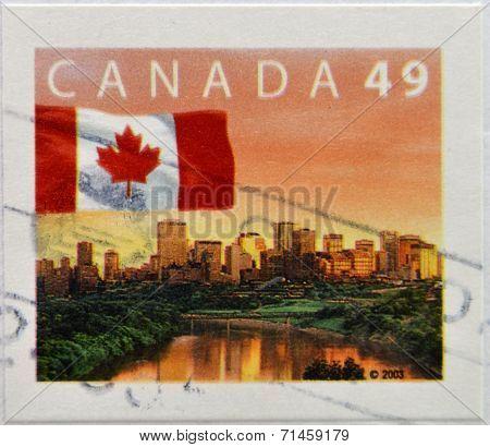 CANADA - CIRCA 2003: A stamp printed in Canada shows flag