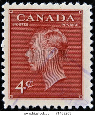 CANADA - CIRCA 1949: A stamp printed in Canada shows portrait of King George VI (1895-1952)