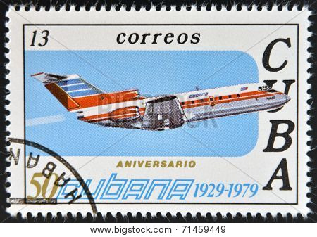 CUBA - CIRCA 1979: A stamp printed in Cuba celebrates the 50th anniversary of Cubana Airlines