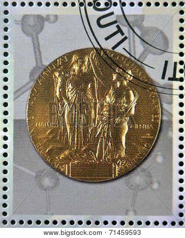 DJIBOUTI - CIRCA 2009: stamp dedicated to French Nobel chemistry prize circa 2009