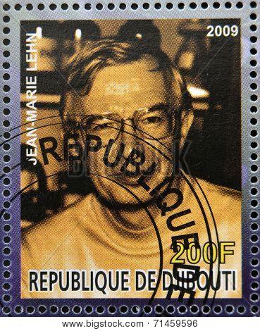 DJIBOUTI - CIRCA 2009: stamp dedicated to French Nobel chemistry prize shows Jean Marie Lehn