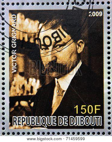 DJIBOUTI - CIRCA 2009: stamp dedicated to French Nobel chemistry prize shows Victor Grignard