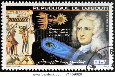 DJIBOUTI - CIRCA 1986: stamp printed in Djibouti shows Halleys Comet circa 1986