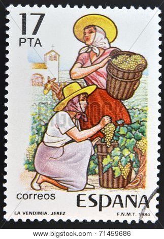 SPAIN - CIRCA 1984: stamp printed in Spain shows the harvest in Jerez circa 1984