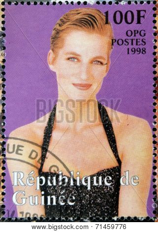 REPUBLIC OF GUINEA - CIRCA 1998: A stamp printed in Republic of Guinea shows Princess Diana of Wales