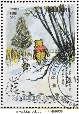 stamp printed in Republic of Guinea commemorates the creation of Winnie the Pooh