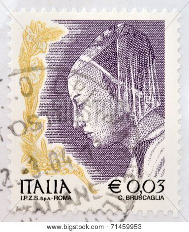 ITALY - CIRCA 2002: stamp printed in Italy shows Queen of Sheba from The Meeting of King Solomon