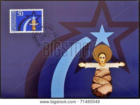 LIECHTENSTEIN - CIRCA 1983: A stamp printed in Liechtenstein shows child Jesus christmas circa 1983