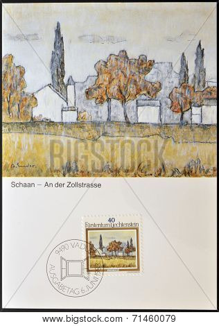 LIECHTENSTEIN - CIRCA 1983: A stamp printed in Liechtenstein dedicated to landscapes