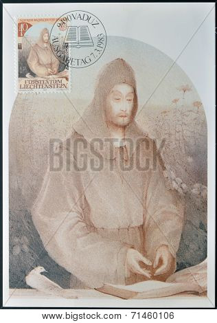 LIECHTENSTEIN - CIRCA 1983: A stamp printed in Liechtenstein shows Notker Balbulus of St Gail