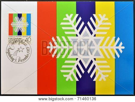 LIECHTENSTEIN - CIRCA 1983: A stamp printed in Liechtenstein shows white snow crystal circa 1983