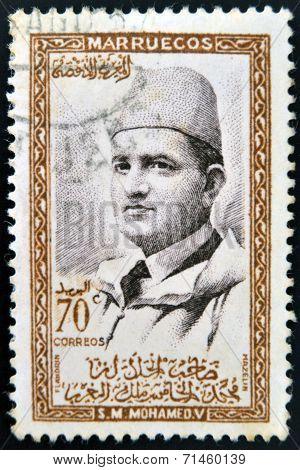 MOROCCO - CIRCA 1957: A stamp printed in Morocco shows Sultan Mohammed V circa 1957
