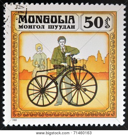 MONGOLIA - CIRCA 1982: stamp printed in Mongolia shows retro bike circa 1982