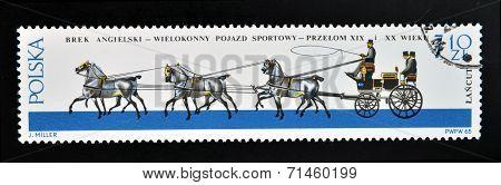 POLAND - CIRCA 1965: a stamp printed in Poland shows old carriage circa 1965