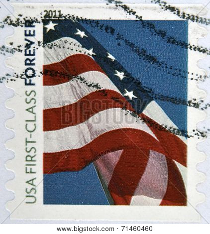 UNITED STATES OF AMERICA - CIRCA 2011: A stamp printed in the USA shows Flag on the sky circa 2011