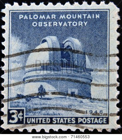 UNITED STATES OF AMERICA - CIRCA 1948: A stamp printed in USA shows the Palomar Mountain Observatory