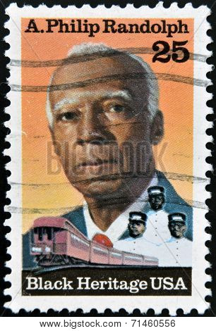 UNITED STATES OF AMERICA - CIRCA 1989: A stamp printed in USA shows Asa Philip Randolph