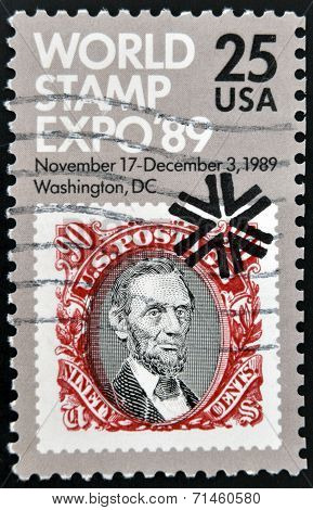 UNITED STATES OF AMERICA - CIRCA 1989: A stamp printed in US dedicated to the World Stamp Expo-89