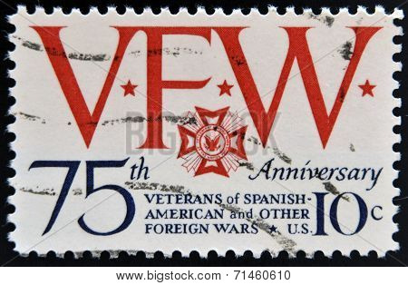 stamp printed in USA devoted to 75th anniversary. of Veterans of Spanish American and other Foreign