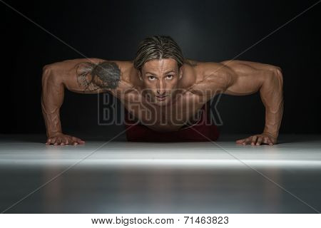 Healthy Middle Age Guy Doing Push Up Exercise