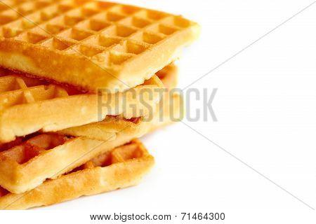 Waffles close up on white